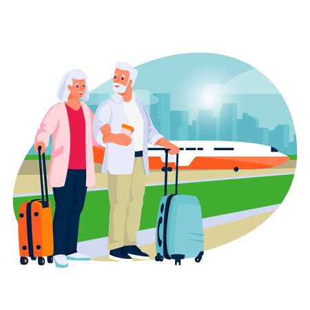 Elderly couple travel by airplane. Vector flat cartoon illustration of tourism and vacation for seniors and pensioners. Ilustração