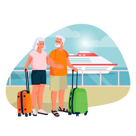 Elderly couple going to sea cruise by ship. Vector flat cartoon illustration of tourism and vacation for seniors and pensioners.
