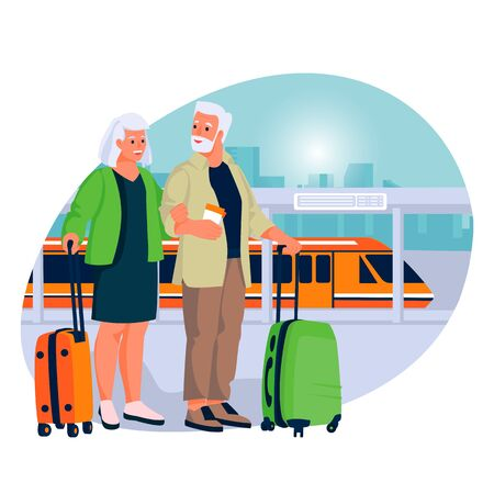 Elderly couple travel by high-speed train. Vector flat cartoon illustration of tourism and vacation for seniors and pensioners.