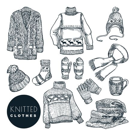 Knitted winter and autumn clothes set, isolated on white background. Vector hand drawn sketch illustration. Fall handmade fashion wool clothing and accessories.