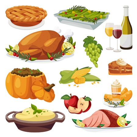 Thanksgiving holiday menu design elements. Vector flat cartoon illustration. Traditional holiday home made meal. Roasted turkey, pie, green beans and pumpkin smoothie.