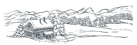 Wooden ski resort house in snowy winter mountains. Mountains, spruce and pine trees landscape, vector sketch illustration. Hand drawn winter hills and forest. Travel, outdoor hiking concept. Foto de archivo - 131765750