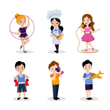 Childrens hobby and education, vector flat cartoon illustration. Babies boys and girls isolated on white background. Kids leisure activities in kindergarten or preschool. Çizim