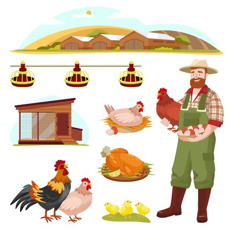 Poultry farm fowl, equipment and farmer, isolated on white background. Vector flat cartoon illustration. Hen, rooster and little chicken design elements. Çizim