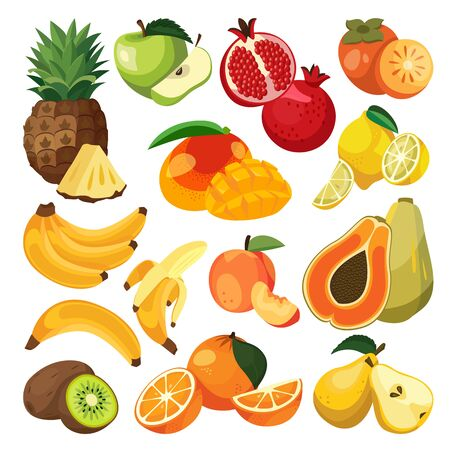 Bananas, oranges, pineapple and other tropical exotic fruits. Vector flat cartoon illustration. Fresh food design elements and icons set. Natural tasty eating collection. Zdjęcie Seryjne - 131765753