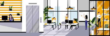 Modern style office workspace and working business people. Vector flat cartoon illustration. Open space contemporary interior design. Foto de archivo - 131765754