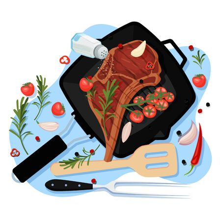 Cooking beef steak, vector cartoon top view illustration. Black grill pan with fried pork fillet on bone, spices and ingredients on white background. Meat restaurant menu design elements.