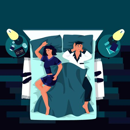 Young tired couple suffering from insomnia. Vector flat cartoon illustration. Sleepless man and woman in night bedroom. Stress, depression and sleeping problems concept.