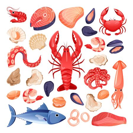 Seafood and fresh raw fish set. Vector flat cartoon illustration. Food icons isolated on white background. Sea restaurant or market design elements. Foto de archivo - 131765758