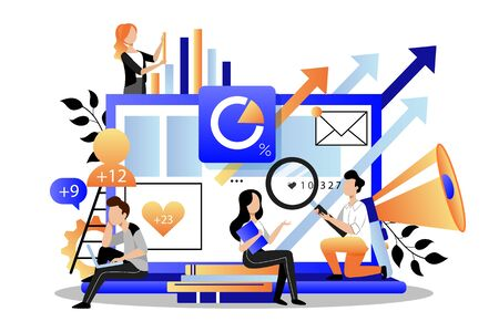 Team of business marketers analyzes data, develops product promotion strategy in social networks. Vector flat cartoon illustration. Digital marketing searching trends concept. Foto de archivo - 131765762