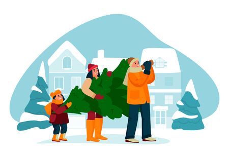 Happy young family buys Christmas Tree. Preparation and celebrating New Year Eve. Vector flat cartoon illustration. Father, mother and kid carry Christmas tree home down snowy street. Foto de archivo - 131765763