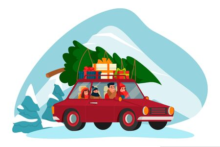 Happy family with two kids rides on red car with Christmas Tree and gifts on roof. Preparation and celebrating New Year Eve. Vector flat cartoon illustration. Winter holiday joy trip. Foto de archivo - 131765764