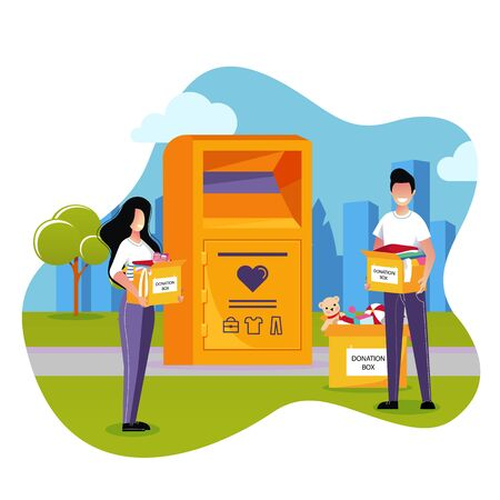 Clothes donations and charity concept. Vector flat cartoon illustration. City donation box stands on the street. Young man and woman donate used apparel, shoes to the poor. Illustration