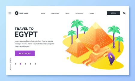 Travel to Egypt and Cairo vector illustration. 3d isometric icons of egyptian pyramid, sphinx and palms. Web landing page, banner or poster design. Tourism website or trip application concept.