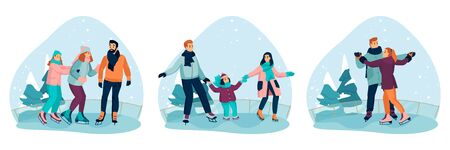 Happy families and couples skating on ice rink. Vector flat cartoon illustration of winter outdoor fun activities. Seasonal holiday banners or labels set. Foto de archivo - 131765775