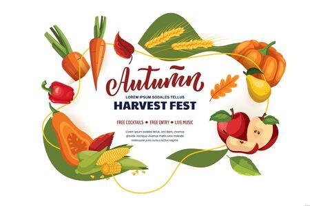 Autumn harvest festival and fall fair poster, banner design layout. Organic grocery food shop or farm market concept. Vector flat cartoon illustration. Foto de archivo - 131765777
