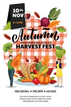 Autumn harvest festival poster, banner design layout. Fall fair or city picnic concept. Vector flat cartoon illustration. Cornucopia and people with pumpkin and apple on red checkered plaid background Illustration
