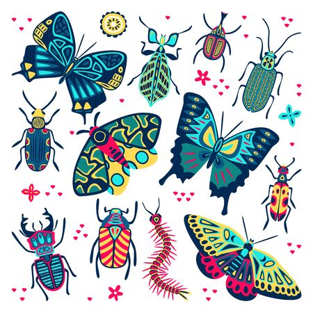 Bright multicolor butterfly, beetles and bugs set. Vector flat cartoon illustration. Decorative insects collection. Summer design elements isolated on white background. Foto de archivo - 131765788