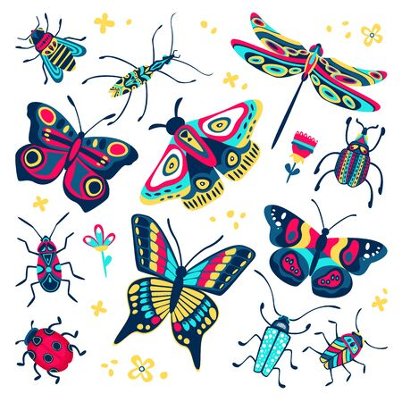 Colorful cute butterflies, beetles and bugs set. Vector flat cartoon illustration. Creative doodle insects collection isolated on white background. Foto de archivo - 131765819
