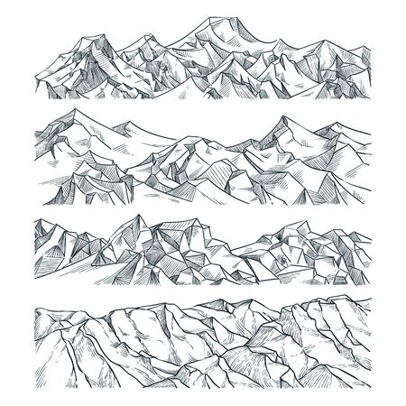 Mountains and rocks horizontal landscape set. Vector sketch illustration. Hand drawn mountain peak, hills, isolated on white background. Travel, outdoor hiking design elements. Foto de archivo - 131765825