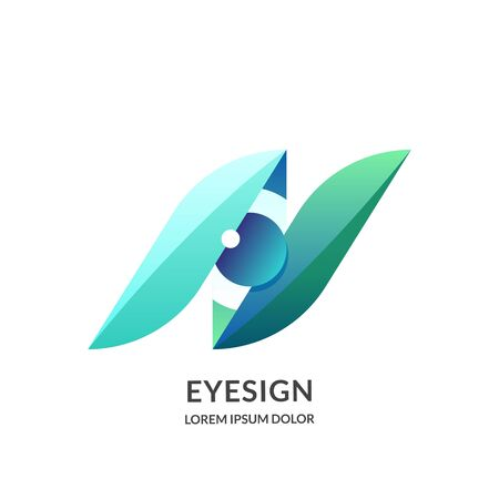 Eye vision logo sign or emblem design template, isolated on white background. Abstract human eyes vector illustration. Concept for ophthalmology, media, glasses lens and optical technology. Foto de archivo - 131765827