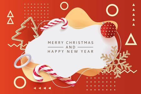 Merry Christmas, Happy New Year poster, banner with white frame. Vector 3d realistic illustration of striped candy, gold metal Christmas tree, shiny snowflakes. Modern winter holiday design template. Foto de archivo - 131765830