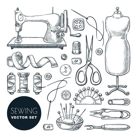 Sewing tools and tailor equipment set, isolated on white background. Vector hand drawn sketch illustration. Craft and handmade sew needlework design elements. Fashion hobby outline icons. Foto de archivo - 131765843