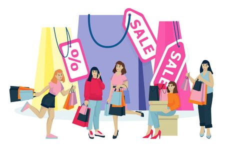 Happy young women with shopping bags make shopping. Vector flat cartoon illustration isolated on white background. Fashion seasonal sale concept. Foto de archivo - 131765847