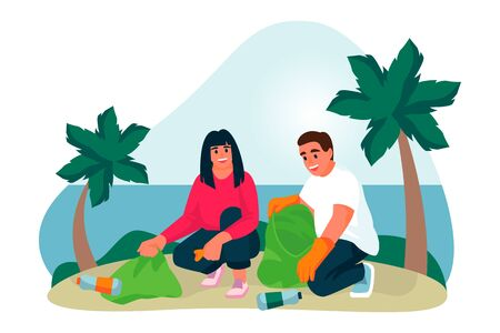 Young couple of volunteers clean up plastic trash on tropical sand beach. Vector flat cartoon illustration. Ecological people lifestyle. Volunteering, charity social concept. Foto de archivo - 131765849