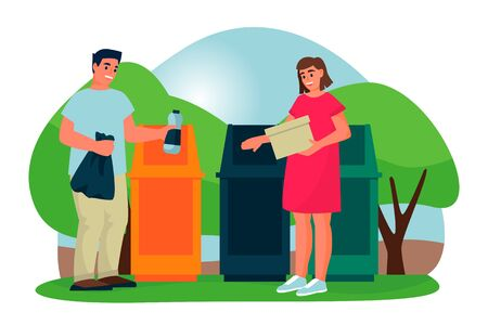 Young couple is recycling of household waste. Man and woman sort plastic and paper trash into different colors garbage containers. Vector flat cartoon illustration. Ecological people lifestyle. Illusztráció