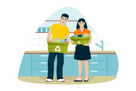 Man and woman clean up house and sort trash in kitchen. Young couple recycle of household waste. Vector flat cartoon illustration. Ecological people lifestyle. Foto de archivo - 131429945