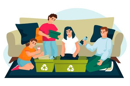 Parents with two kids having fun while clean up house. Family sorting segregating waste at home. Vector flat cartoon illustration. Ecological people lifestyle. Recycling concept. Foto de archivo - 131429946