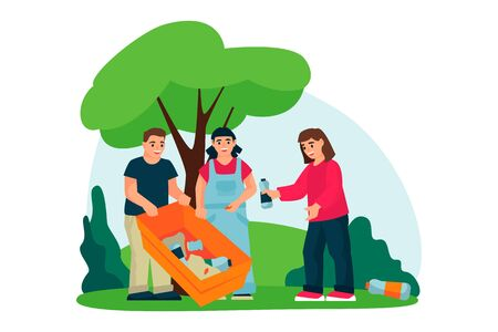 Children care about environment, ecology and clean up plastic waste in city park. Vector flat cartoon illustration. Schoolchildren volunteering concept. 일러스트