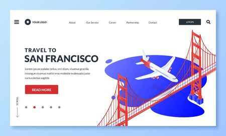 Travel to San Francisco, USA vector 3d isometric illustration. Plane flies over Golden Gate Bridge. Web landing page, banner, poster design. Tourism website, buying and selling flight tickets concept Ilustracja