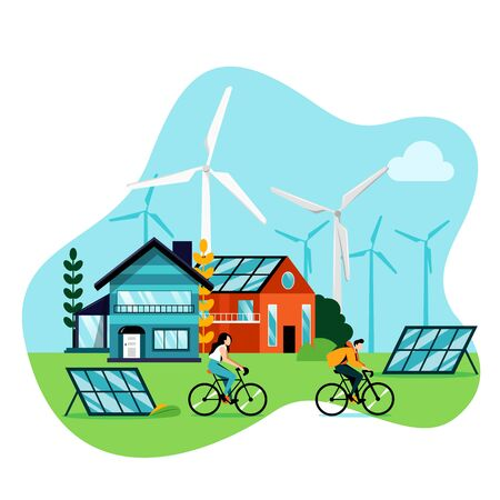 Green city landscape. Save earth day vector flat illustration, isolated on white background. Saving environment nature and ecology. Alternative energy generators, solar panels and modern buildings. Foto de archivo - 131429947