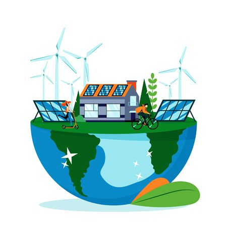 Green landscape on Earth planet surface. Save earth day vector flat illustration, isolated on white background. Saving environment nature. Alternative energy generators, solar panels and eco house Foto de archivo - 131429948