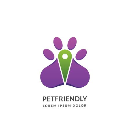 Dog or cat paw silhouette and map pin logo sign or emblem design template, isolated on white background. Pet shop, center or pet friendly place concept. Vector abstract illustration. Foto de archivo - 131765870