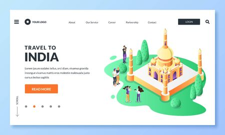 Travel to India vector 3d isometric illustration. Tourists takes pictures of Taj Mahal most famous indian landmark. Web landing page, banner or poster design. Tourism website, trip application concept Foto de archivo - 131765872