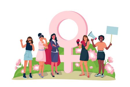 Feminism and girls power concept. Vector flat cartoon illustration, isolated on white background. Women characters set standing together in front of female gender sign. Foto de archivo - 131765874