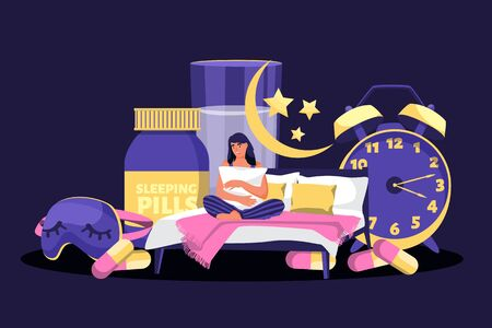 Tired woman suffering from insomnia. Vector flat cartoon illustration. Sleepless girl in night bedroom surrounded by alarm clock, sleeping pills, mask. Stress, depression and sleeping problems concept