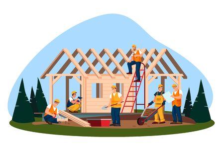Processo di costruzione di case ecologiche in legno. Piatto del fumetto di vettore. Lavoratori e costruttori che costruiscono casa o cottage nella foresta.
