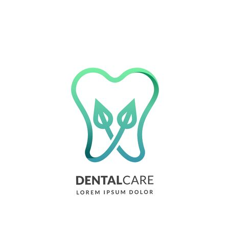 Dental medical clinic logo sign or emblem design template, isolated on white background. Abstract line human tooth with green leaves, vector icon. Concept for dentist, oral hygiene and medicine. Foto de archivo - 131765879