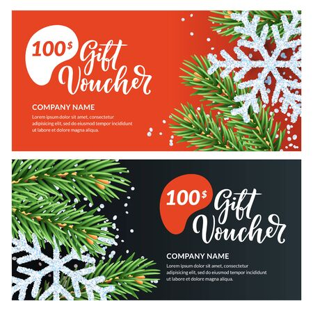 Gift card, voucher, certificate or coupon vector design template. Discount banner layout for Christmas and New Year holidays sale. Realistic illustration of white snowflakes and green fir branches