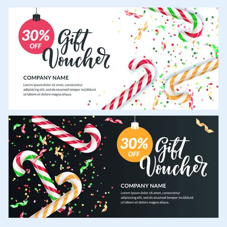 Gift card, voucher, certificate or coupon vector design template. Discount banner layout for Christmas and New Year holidays sale. Realistic illustration of multicolor striped stick sugar candy Foto de archivo - 131765887