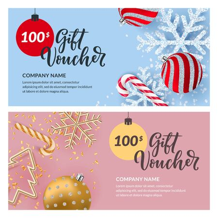 Gift card, voucher, certificate or coupon vector design template. Discount banner layout for Christmas and New Year holidays sale. Illustration of gold metal Christmas tree, shiny snowflakes and balls