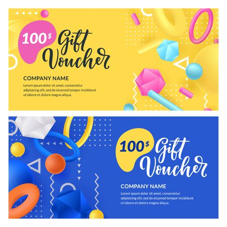 Gift card, voucher, certificate or coupon vector design template. Discount banner layout for seasonal holidays sale. Abstract 3d multicolor plastic geometric shapes on blue, yellow background. Illustration