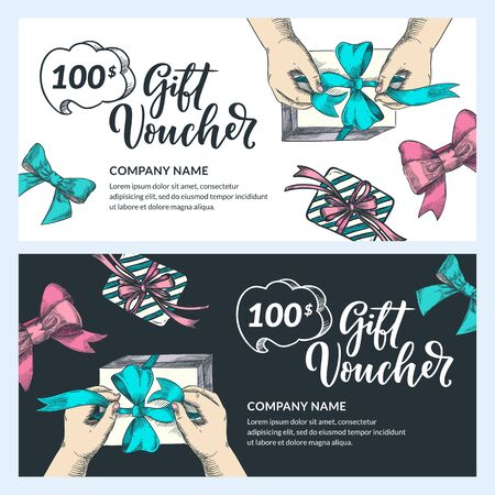 Gift card, voucher, certificate or coupon vector design template. Discount banner layout for Christmas and New Year holidays sale. Human hands packaging gift, top view sketch illustration Foto de archivo - 131557173
