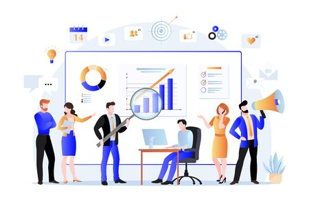 Project managers, business marketers analyzes data, develops product promotion strategy in social networks. Vector flat illustration of office teamwork. Digital marketing searching trends concept.