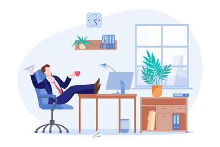 Procrastinating lazy freelancer or business man sitting at the desk in office. Vector flat cartoon illustration of managers coffee break. Procrastination and delaying working tasks concept. Çizim