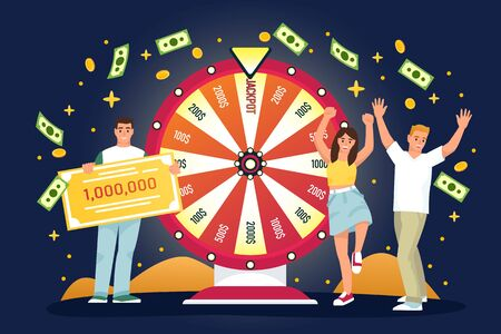 Happy people win jackpot in lottery. Vector flat cartoon illustration for casino or gambling games. Lucky man and woman have won money prize in fortuna wheel. Иллюстрация
